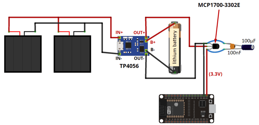 Power ESP32 with Solar Panels circuit schematic