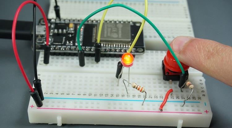 ESP32 Schematics diagram circuit LED output pushbutton input demonstration testing