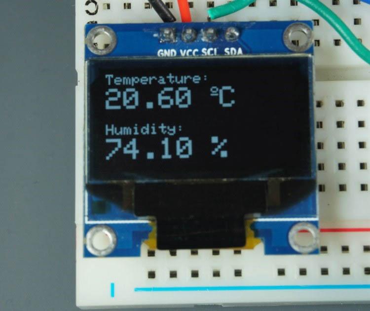 DHT11 DHT22 sensor display temperature humidity readings in OLED display ESP8266 ESP32 using Arduino IDE