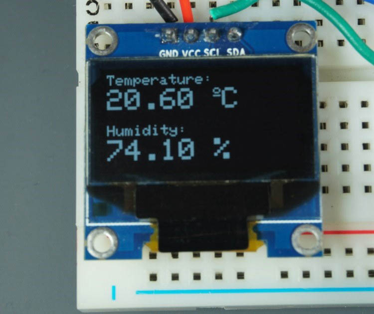 DHT11 DHT22 sensor display temperature humidity readings in OLED display ESP8266 ESP32 using Arduino IDE