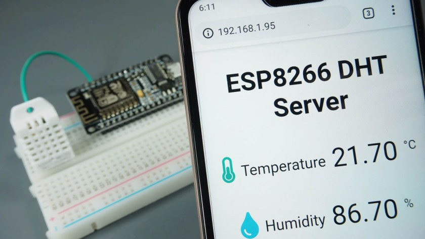 ESP8266 DHT11 DHT22 Temperature and Humidity Web Server with Arduino IDE