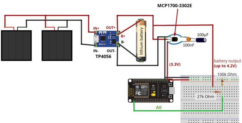 Final circuit Power ES8266 with Solar Panels battery level monitoring