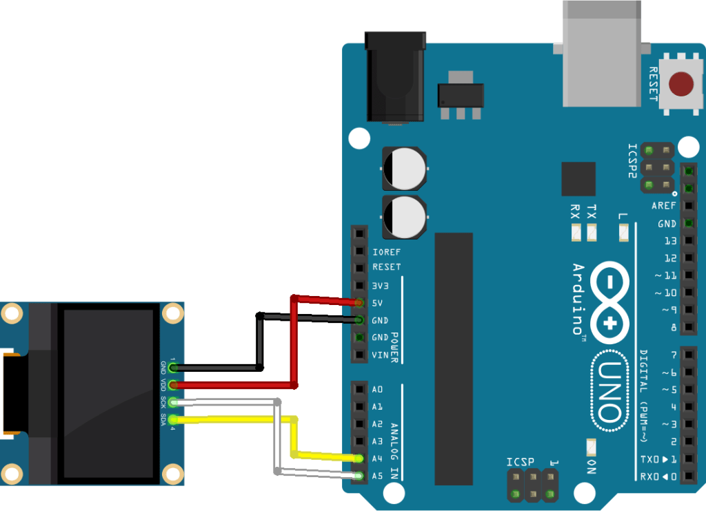 arduino with OLED display schematic diagram