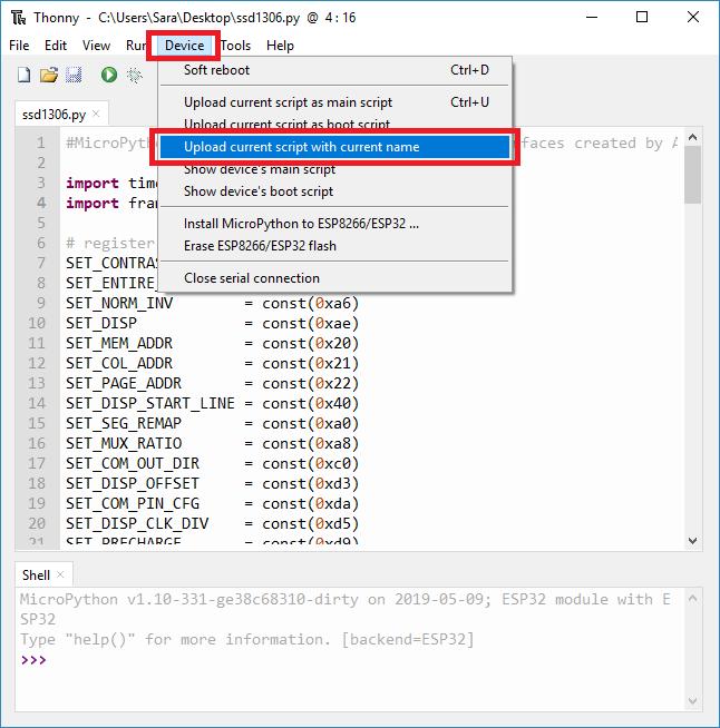 thonny ide upload library file script micropython