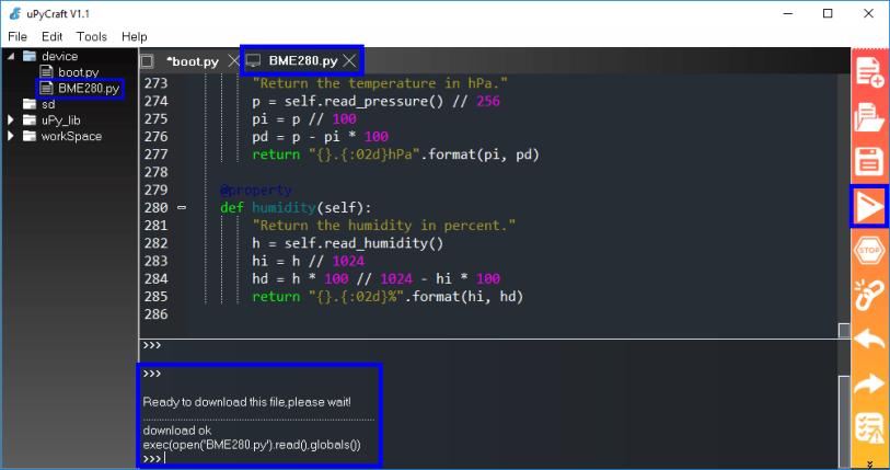 Install BME280 library MicroPython ESP32 ESP8266 uPyCraft IDE step 4