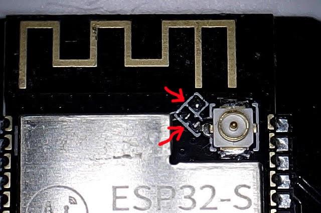 ESP32-CAM external and built-in antenna