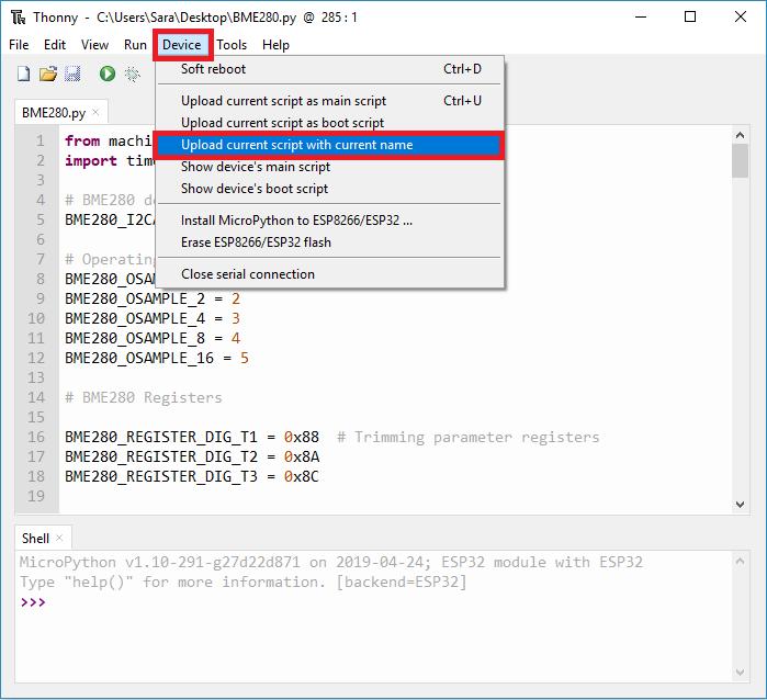 Upload BME280 library to ESP32 or ESP8266 Thonny IDE