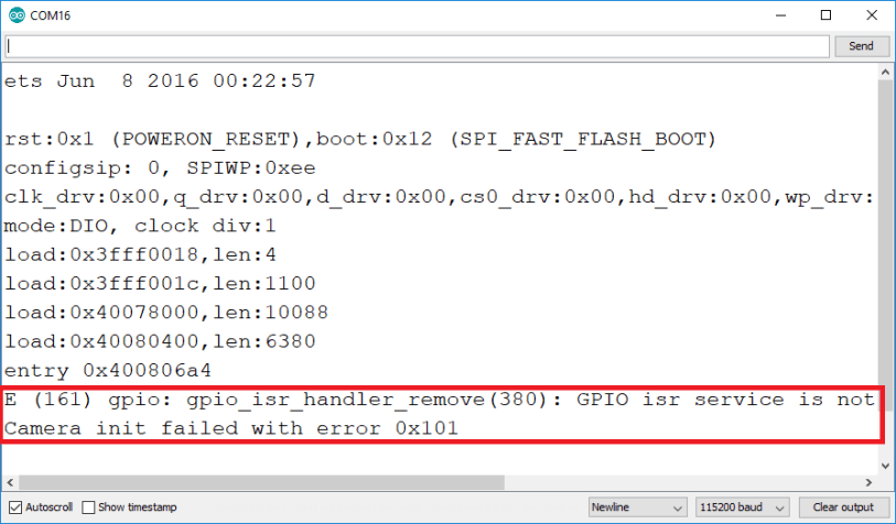 ESP32-CAM Psram error GPIO isr service is not installed