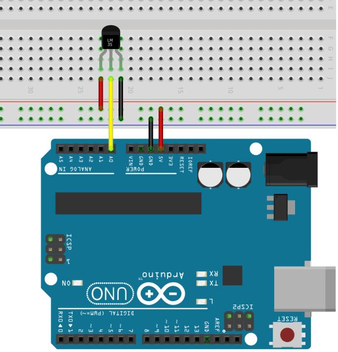 LM35 / LM35DZ and LM34 Wiring to Arduino Schematic Diagram