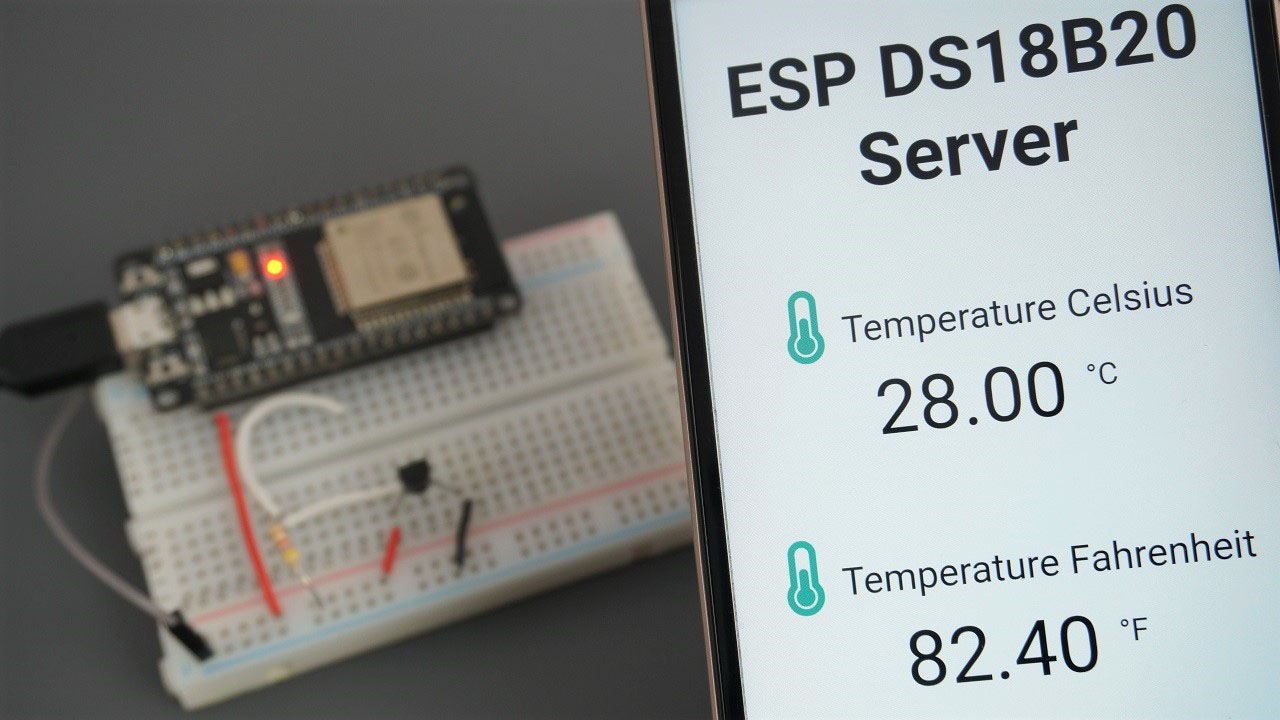 ESP32 with DS18B20 Temperature Sensor using Arduino IDE