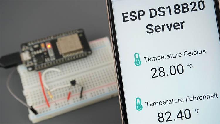 Display DS18B20 Temperature Readings in ESP32 Web Server using Arduino IDE
