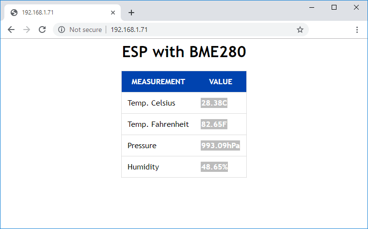 BME280 Web Server MicroPython with ESP8266 or ESP32