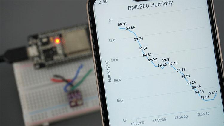ESP32 ESP8266 Chart Web Server BME280 Humidity Arduino IDE