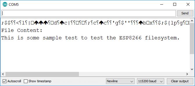 ESP8266 SPIFFS FS Filesystem Example Arduino IDE Serial Monitor