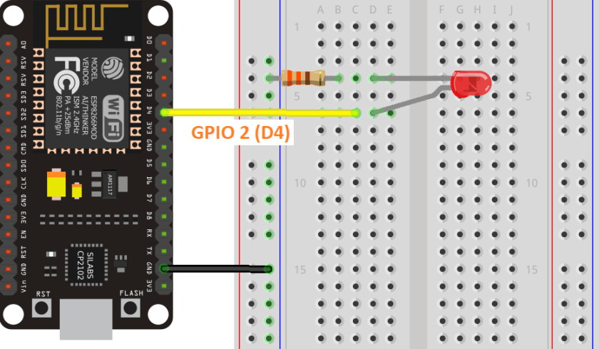 ESP8266 LED Connected to GPIO 2 Wiring Schematic Diagram