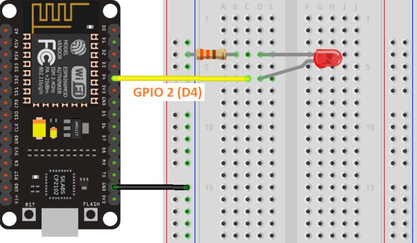 ESP8266 LED Connected to GPIO 2 Wiring Schematic Diagram