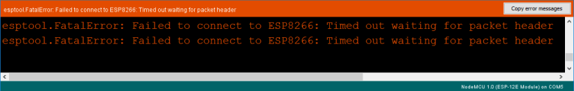 esptool.FatalError Failed to connect to ESP8266: Timed out waiting for packet header