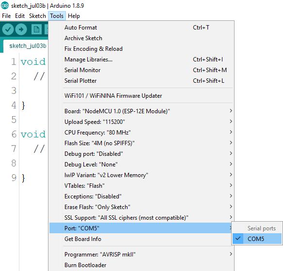 Install ESP8266 Board add-on in Arduino IDE select COM port