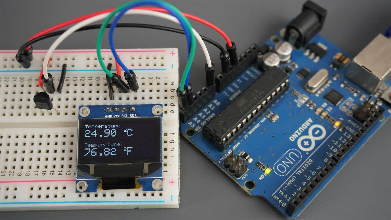 LM35 LM35DZ LM34 LM335 Arduino board OLED temperature Celsius Fahrenheit readings