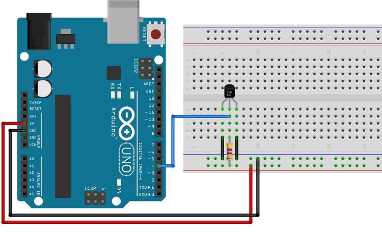 DS18B20 temperature sensor schematic wiring diagram parasite mode