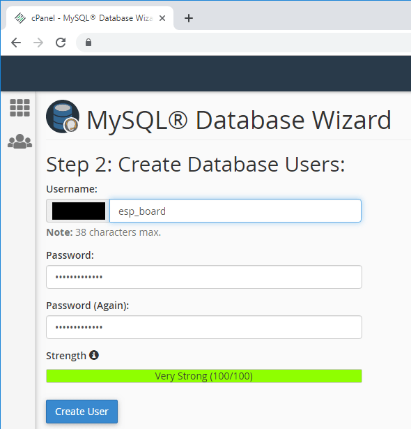 ESP32 ESP8266 CPanel Create MySQL Database User and Password