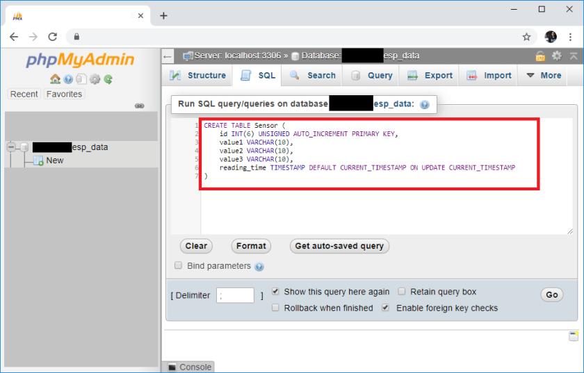 ESP32 ESP8266 PHPMyAdmin Create SQL Sensor Table