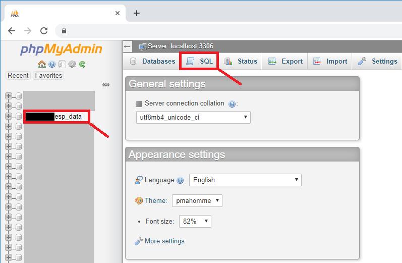 ESP32 ESP8266 PHPMyAdmin Open Database