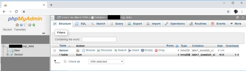 ESP32 ESP8266 PHPMyAdmin View SQL Database