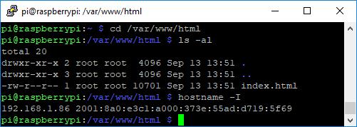 Raspberry Pi change directory RPi IP Address