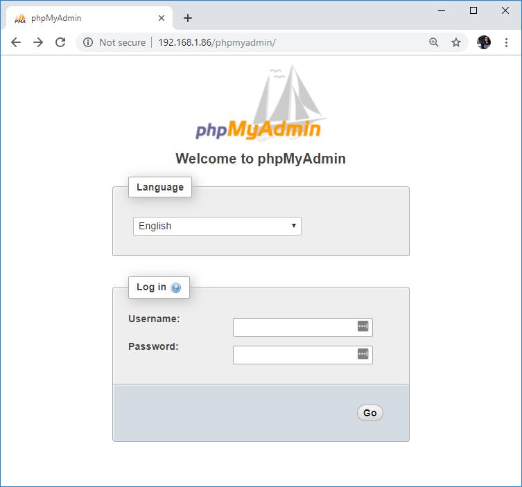 Raspberry Pi Open phpMyAdmin Login Page