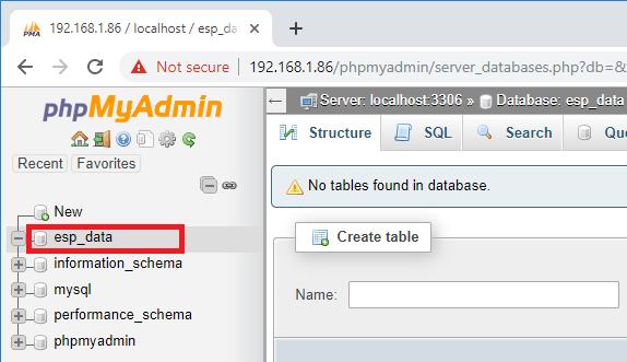 Raspberry Pi phpMyAdmin open new database