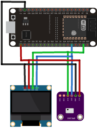 ESP32 with BME280 and OLED Display Schematic Diagram Wiring