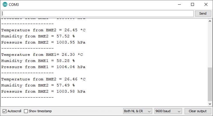 ESP32 multiple BME280 sensors serial monitor output