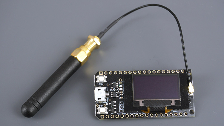 TTGO LoRa32 SX1276 OLED board with antenna