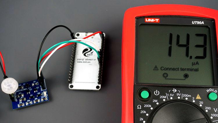 Latching Power Circuit with ESP32 PIR Motion Sensor Consumption