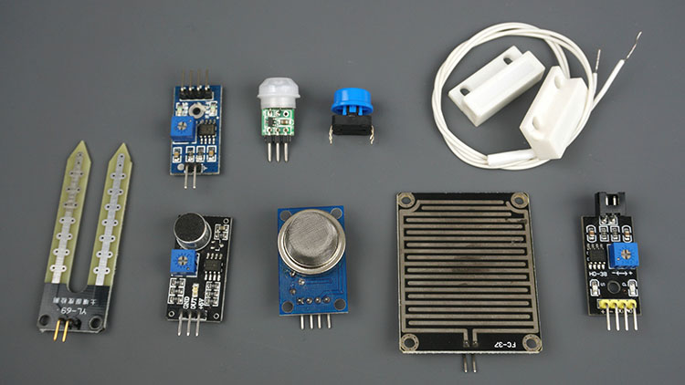 pushbutton motion detected by a PIR sensor magnetic reed switch or any other digital sensor