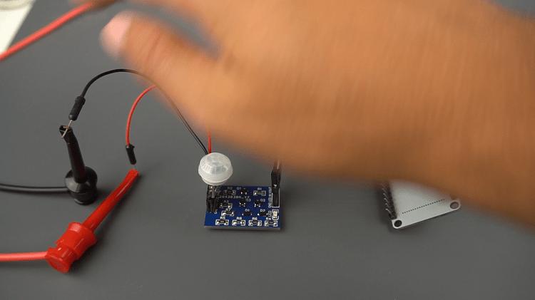 Latching Power Circuit with ESP32 PIR Sensor Detects Motion