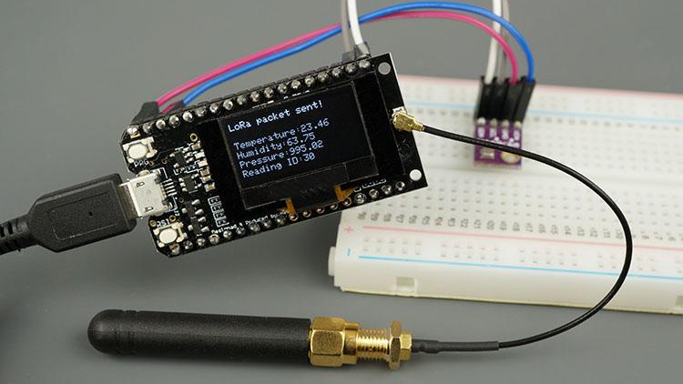 TTGO LoRa32 SX1276 OLED board ESP32 Sender Circuit Schematic