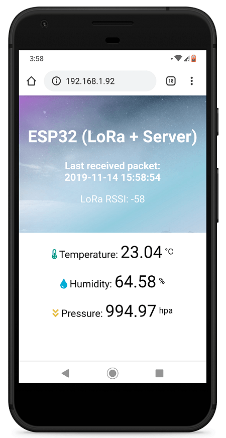 TTGO LoRa32 board ESP32 Receiver Web Server Example