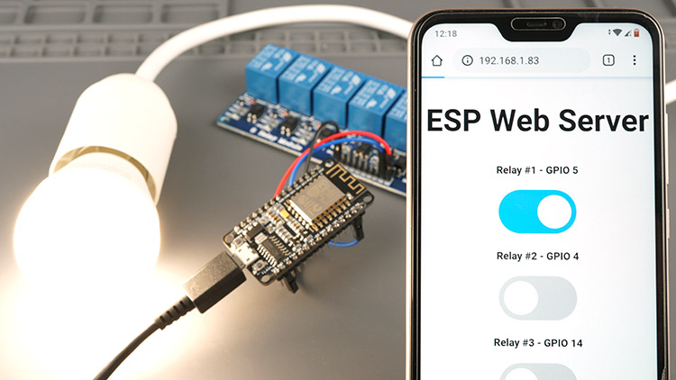 ESP8266 Web Server controlling AC lamp with relay module