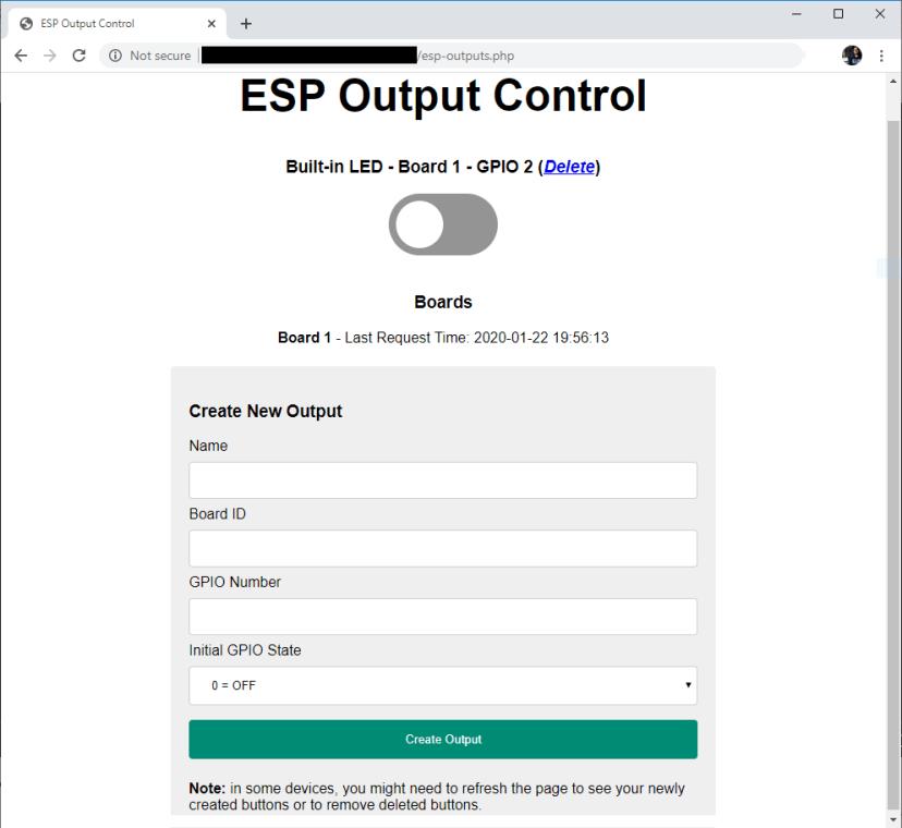 ESP32 ESP8266 Output Control Default Button and Board