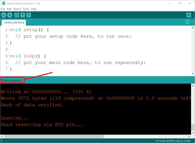 ESP32-CAM AI Thinker Module Arduino IDE Done Uploading Success Message