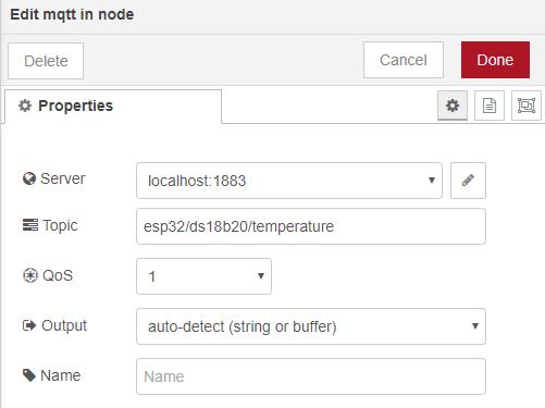 MQTT In node ESP32 Publish Temperature Node-RED Flow