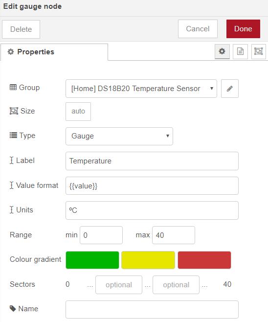 Gauge Node ESP32 Publish Temperature Node-RED Flow