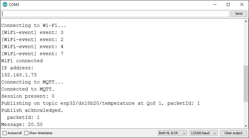 ESP32 Arduino IDE Serial Monitor MQTT Publish sensor readings debugging demonstration