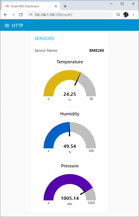 ESP32 ESP8266 MQTT Publish Temperature Humidity Pressure BME280 Node-RED Dashboard