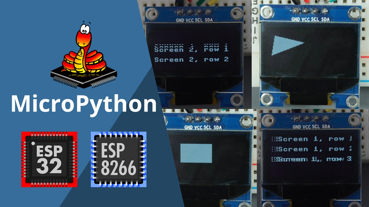 MicroPython: SSD1306 OLED Display Scroll Functions and Draw Shapes ESP32 ESP8266