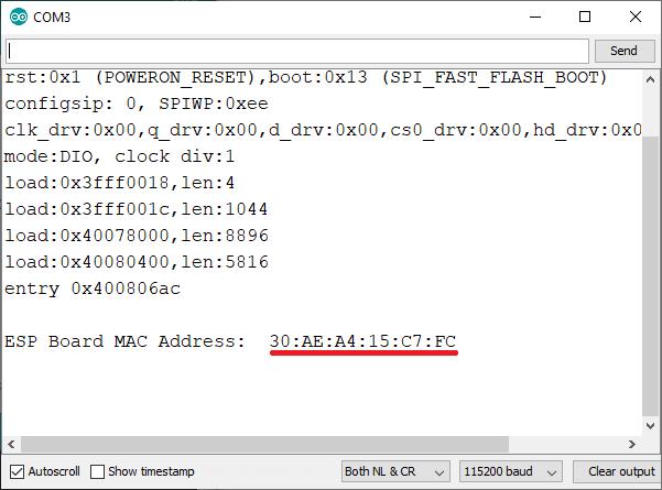 ESP32 board MAC Address with Arduino IDE Serial Monitor