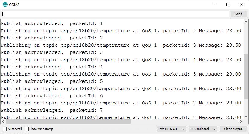 ESP8266 NodeMCU Arduino IDE Serial Monitor MQTT Publish sensor readings debugging demonstration