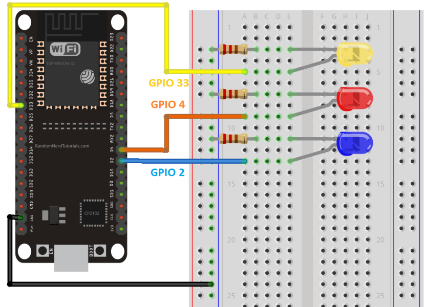 ESP32 Control Three LEDs Outputs Web Server Wiring Circuit Diagram